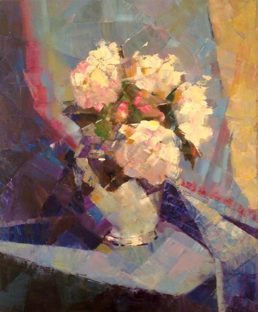 """Reflections in Blue, 20x24 The Button Petter Gallery"" original fine art by Ann Feldman"