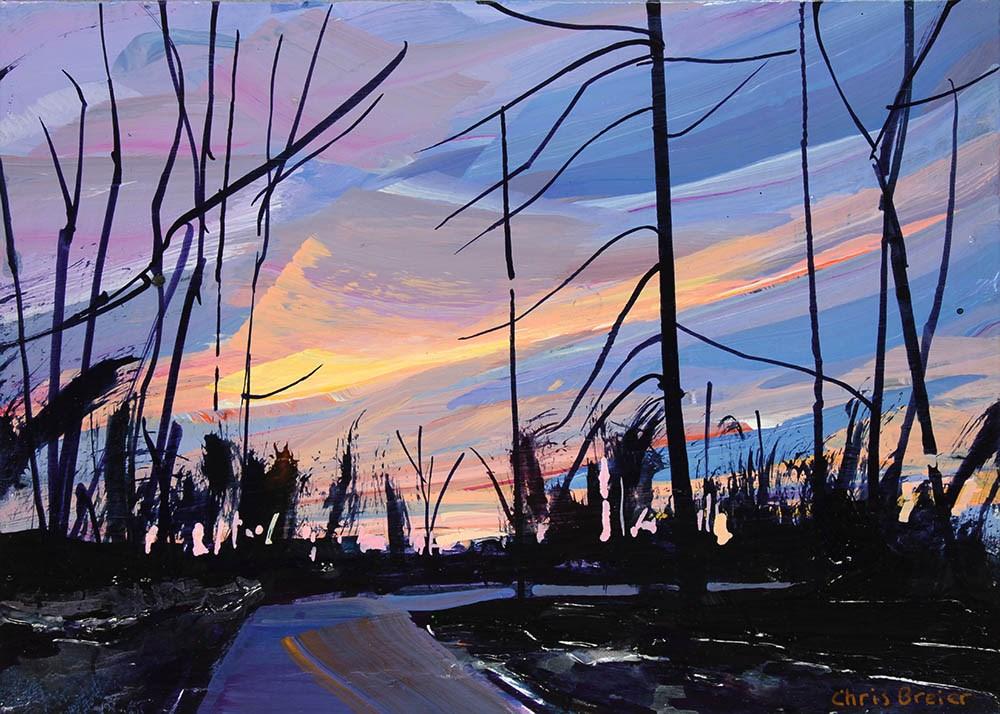 """""""Walking at Dusk"""" original fine art by Chris Breier"""