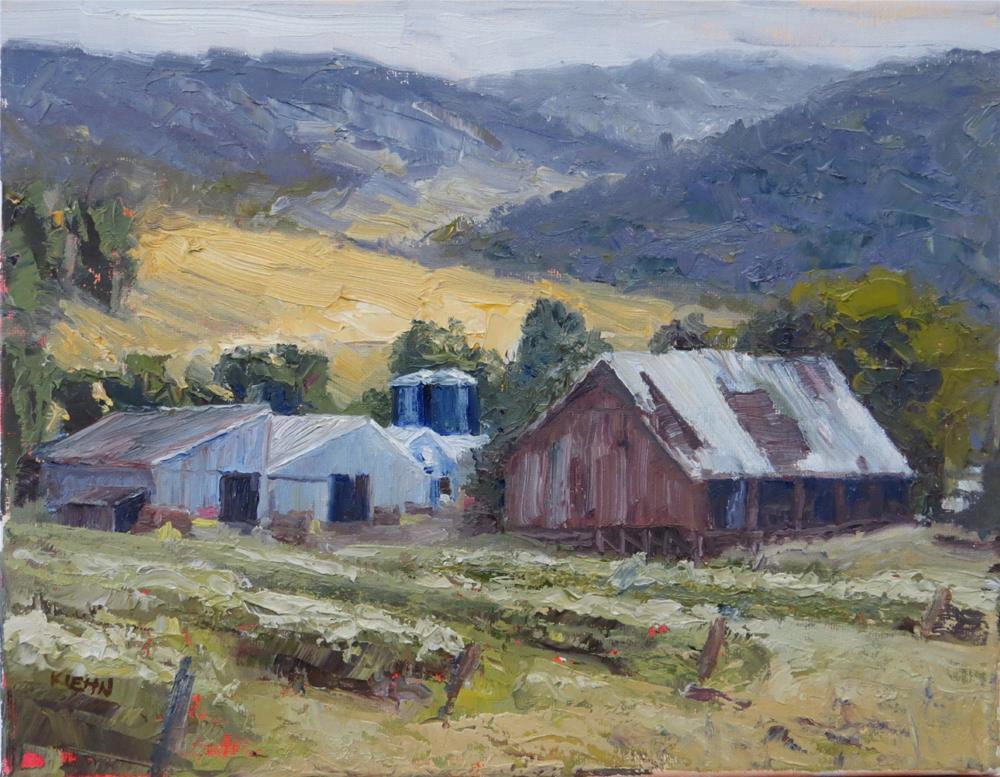 """The Barns at Norris Blueberry Farm"" original fine art by Richard Kiehn"