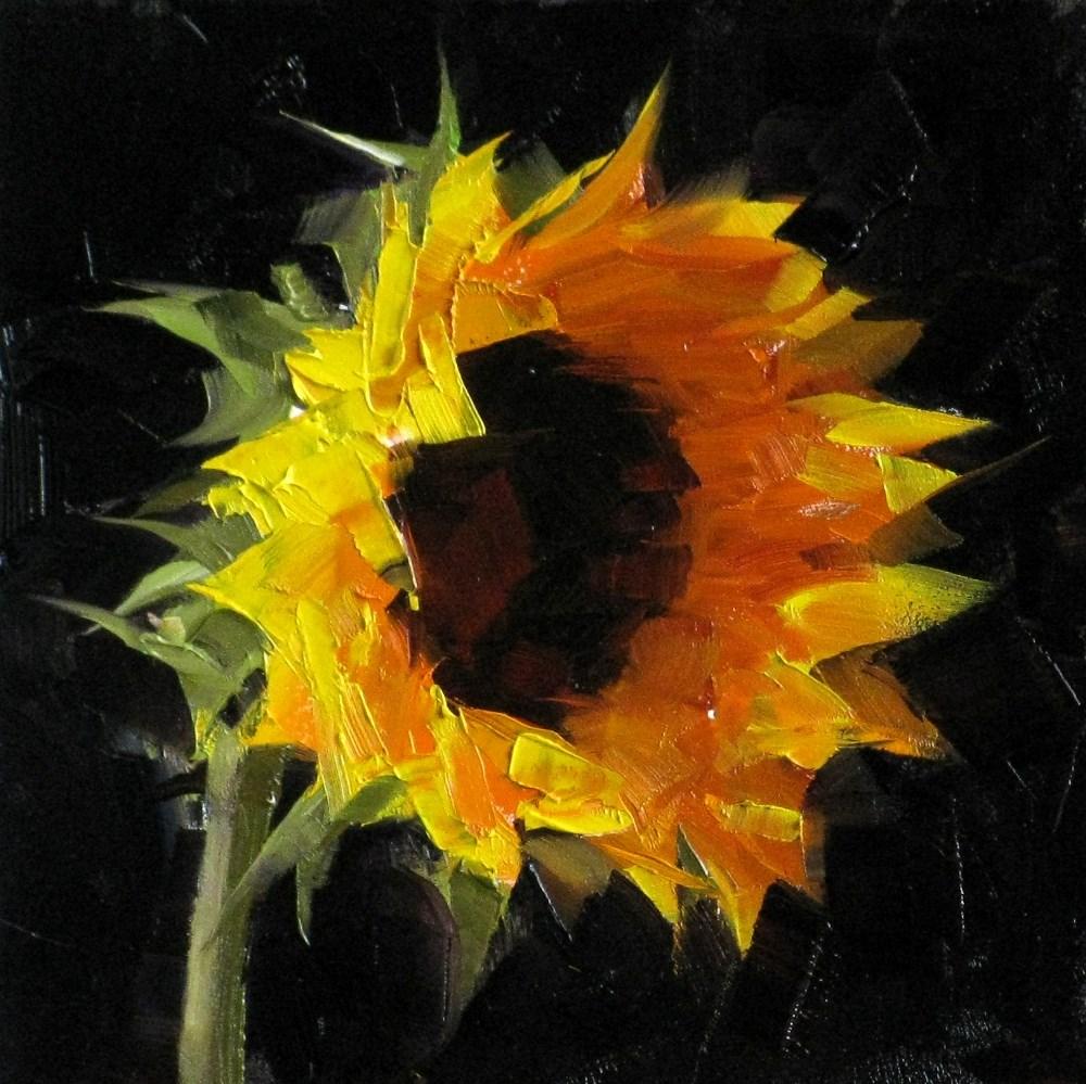 """""""""""Sunflower Study 4"""" original fine art by Qiang Huang"""