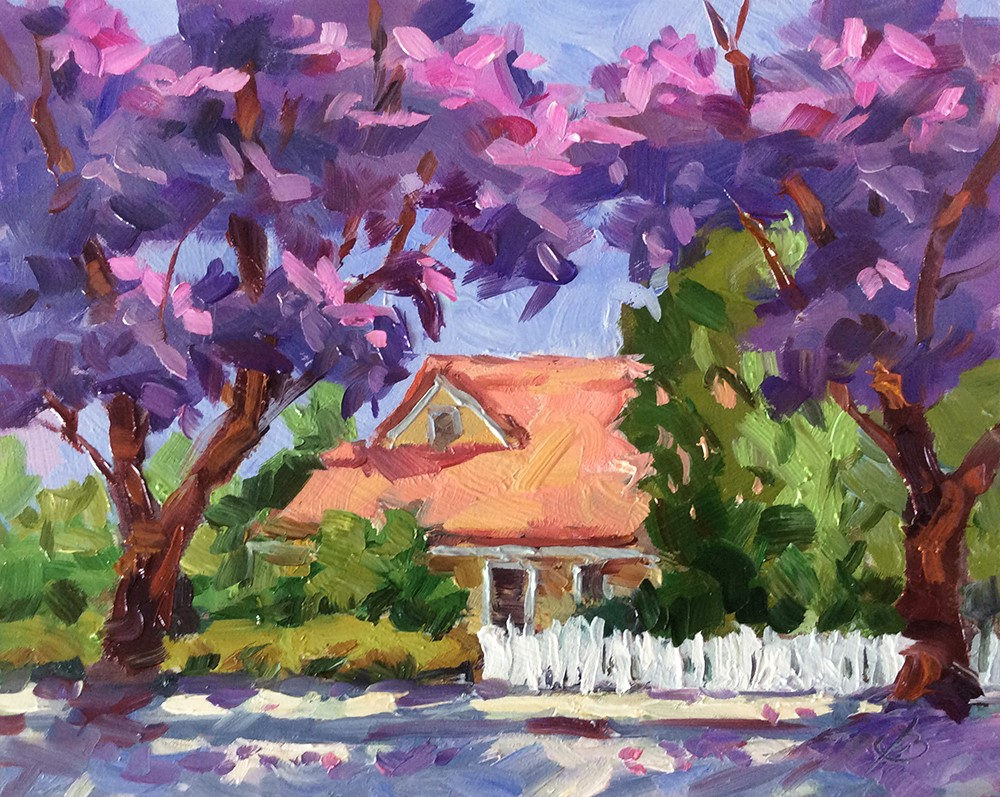 """JACARANDA TREES IN BLOOM"" original fine art by Tom Brown"