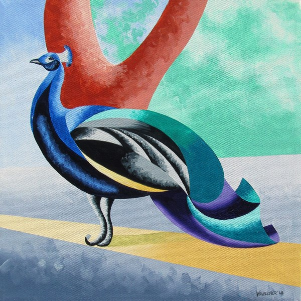 """""""Mark Webster - Abstract Geometric Futurist Peacock Oil Painting"""" original fine art by Mark Webster"""