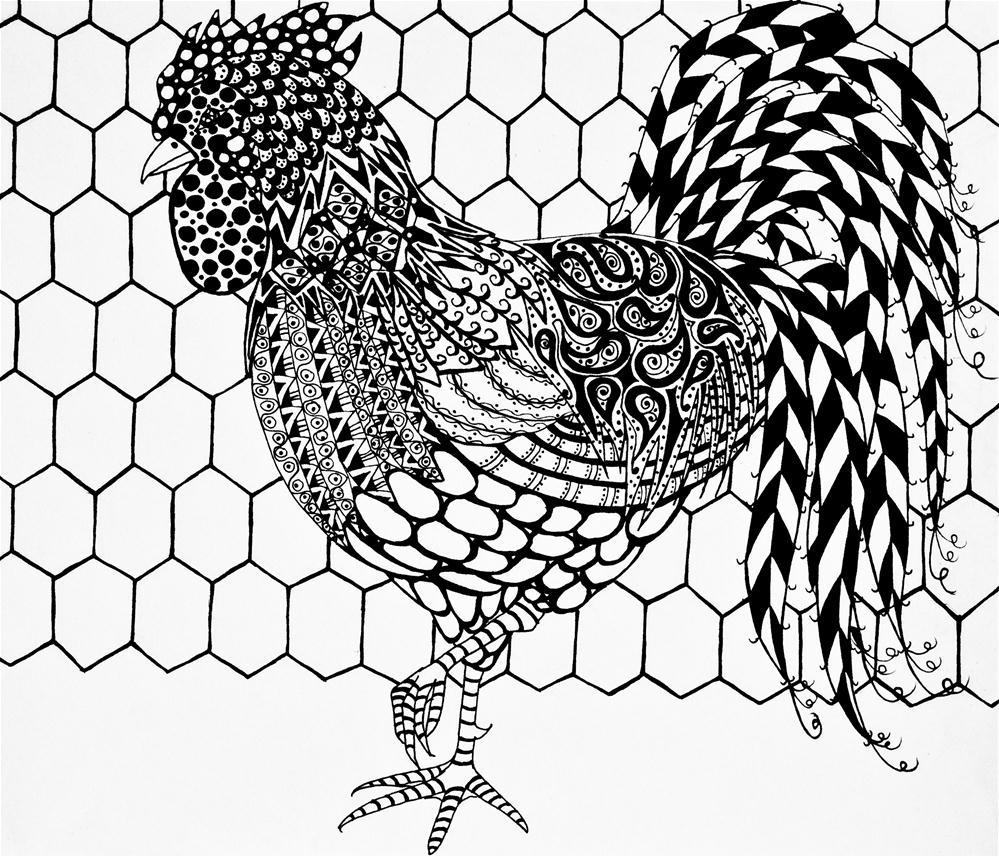 """Zentangle Rooster"" original fine art by Jani Freimann"