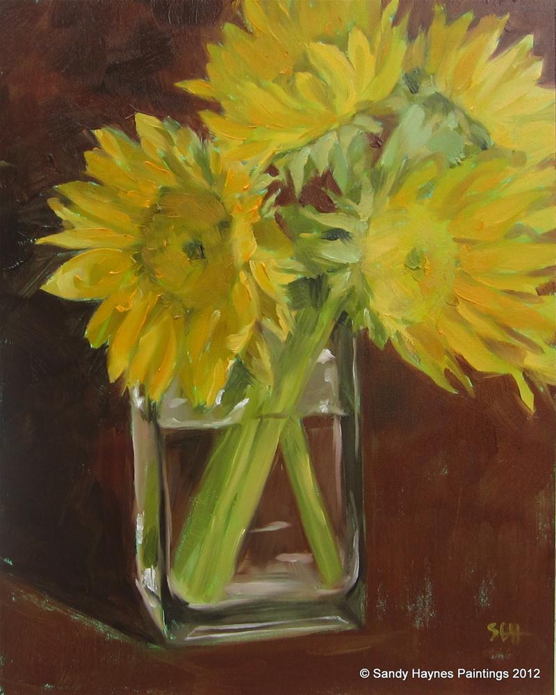 """""""Dark background sunflowers"""" original fine art by Sandy Haynes"""