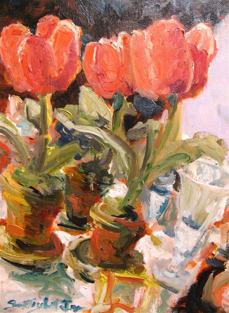 """Bell Pepper Tulips"" original fine art by Susan Elizabeth Jones"