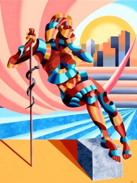 """Mark Webster Artist - Cleopatra Modern - Abstract Geometric Futurist Figurative Painting"" original fine art by Mark Webster"