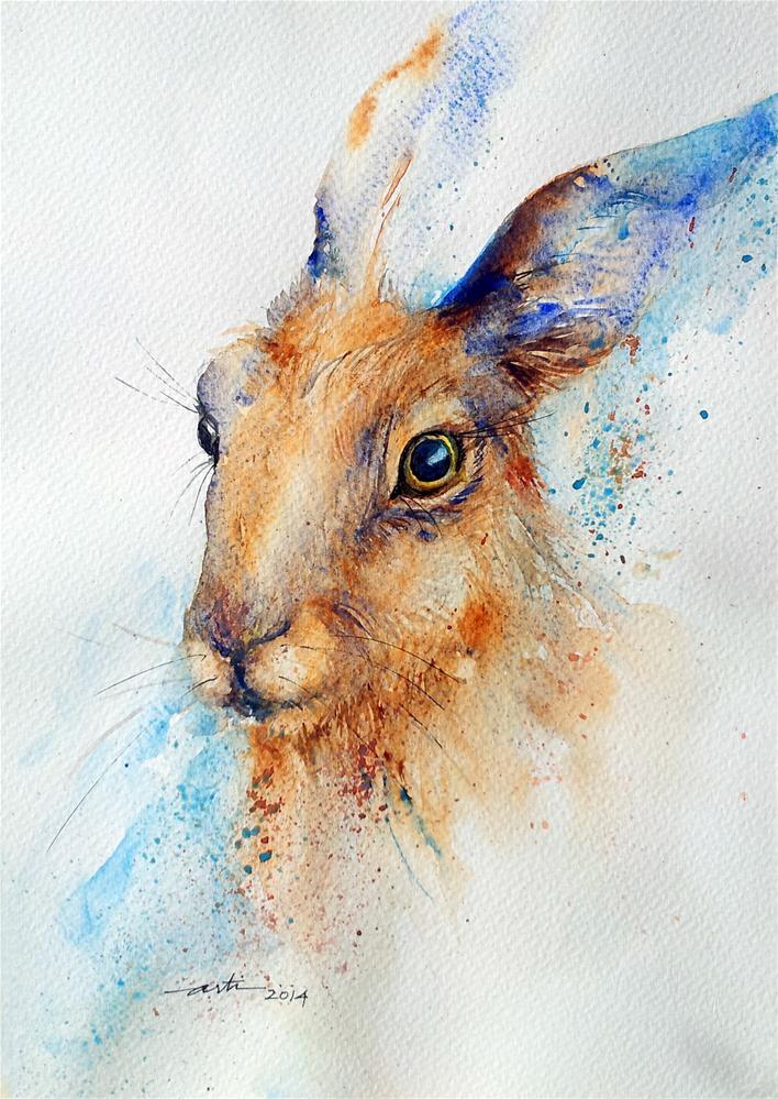 """The Brown Hare Portrait"" original fine art by Arti Chauhan"