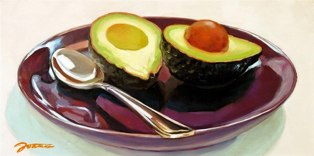 """Avocado On The Purple Plate"" original fine art by Joanna Bingham"