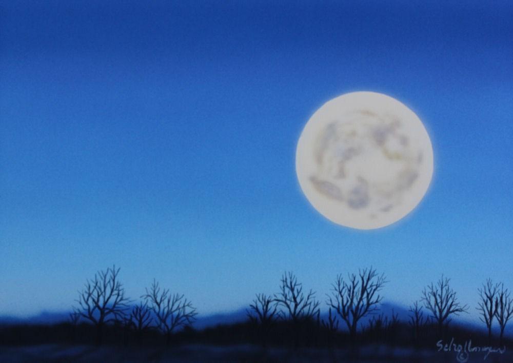 """Winter Moon"" original fine art by Fred Schollmeyer"