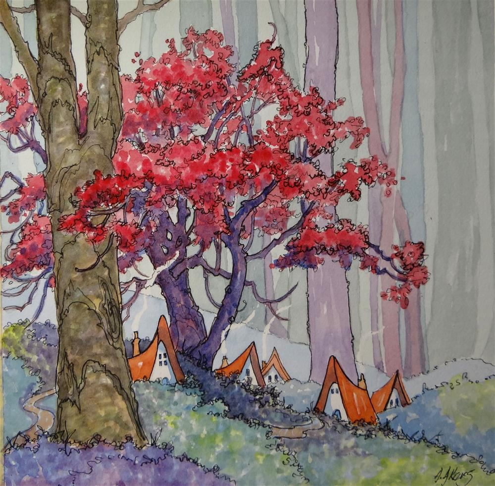 """Fairy Houses at the Edge of the Misty Wood"" original fine art by Alida Akers"