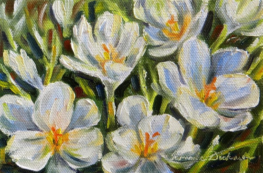 """""""First White Crocus"""" original fine art by Tammie Dickerson"""