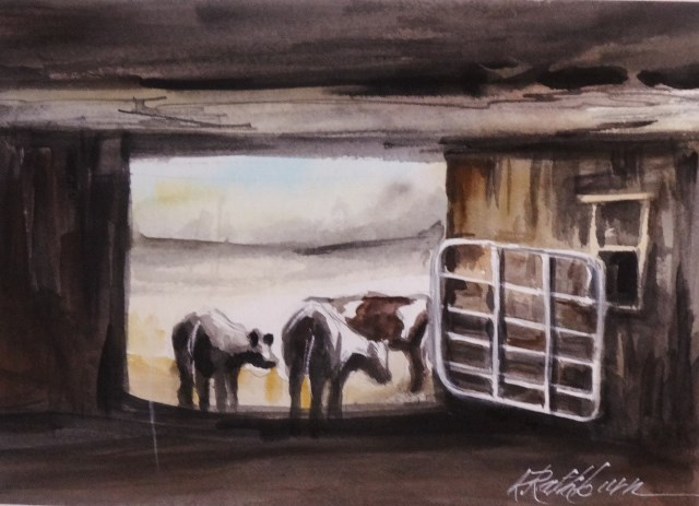 """""""Going Out to Graze"""" original fine art by Kathy Los-Rathburn"""
