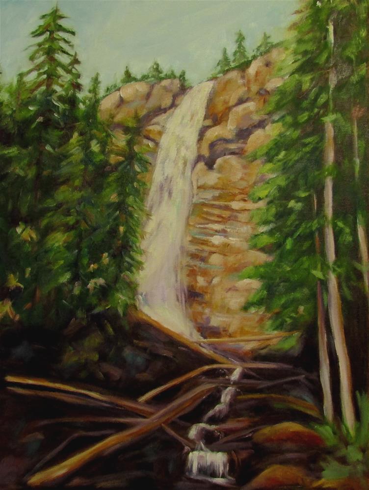 """24 x 18 inch oil Coastal Waterfal"" original fine art by Linda Yurgensen"