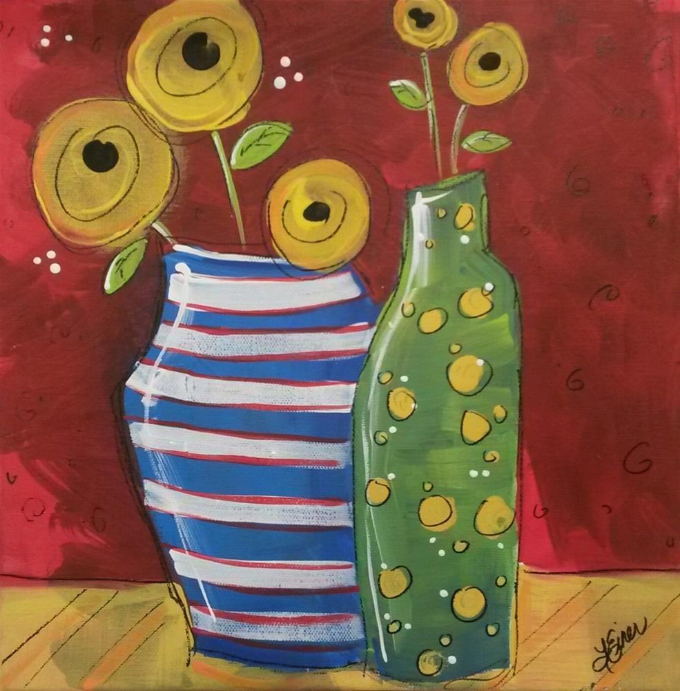 """Whimscial Yellow Roses"" original fine art by Terri Einer"