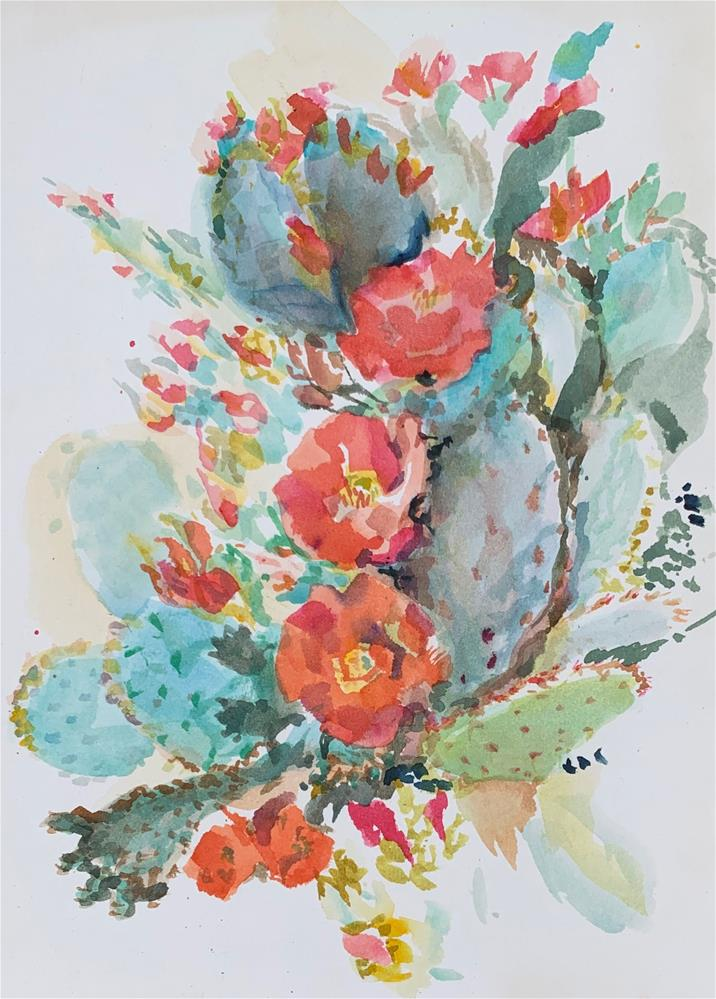 """Chenille Prickly Pear - Opuntia aciculata"" original fine art by Jean Krueger"