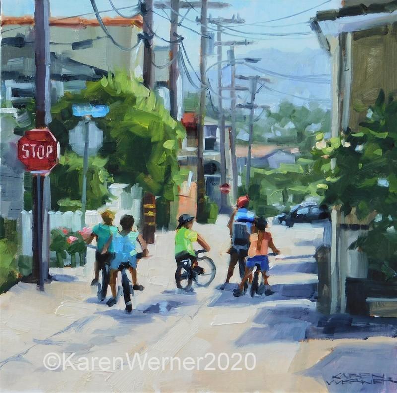 """No School Today"" original fine art by Karen Werner"