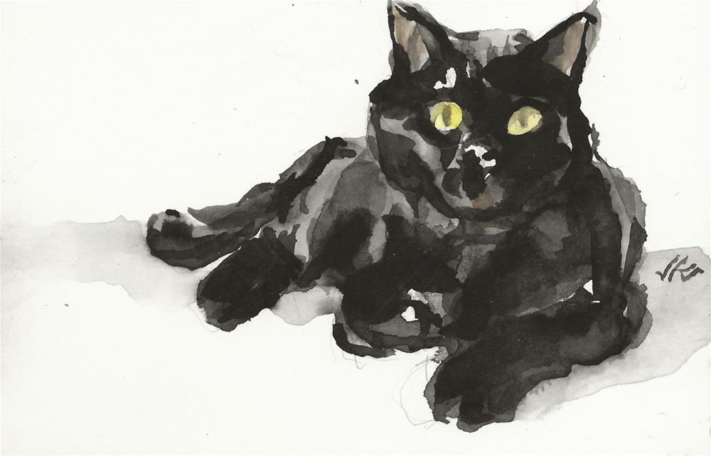 """Daily Cat 154"" original fine art by Jean Krueger"