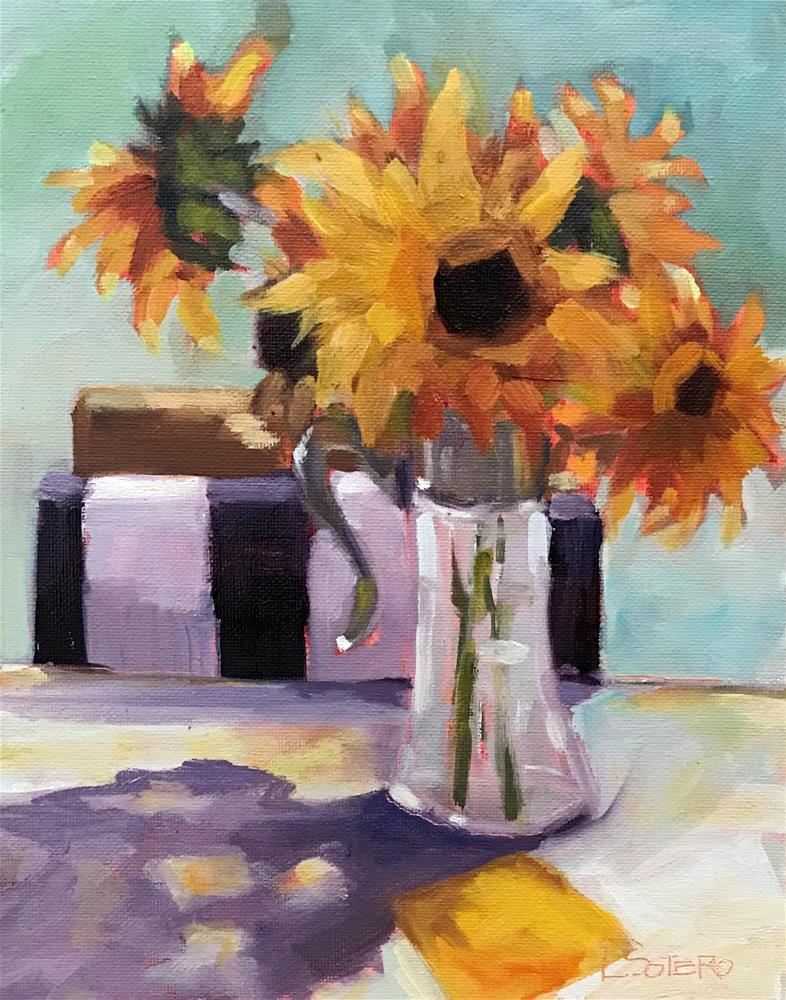 """""""Sunflowers and Stripes"""" original fine art by Lisa Sotero"""