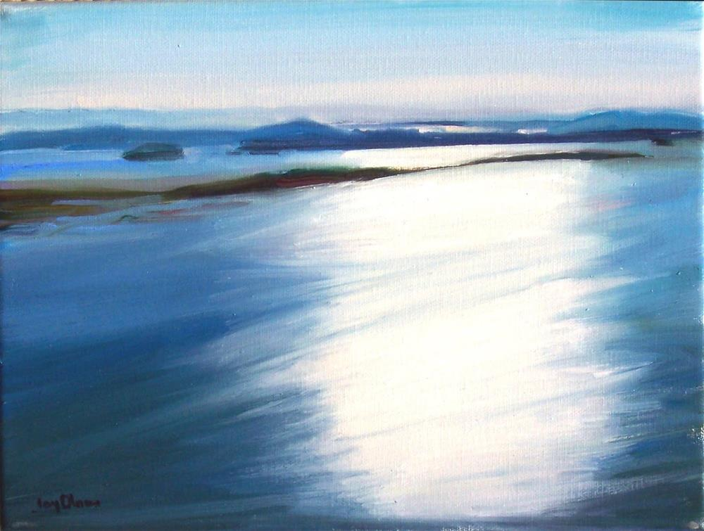 """""""View of Light from Blanchard MT.,seascape,oil on canvas,9x12,price$500"""" original fine art by Joy Olney"""
