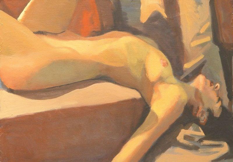 """Dynamic reclining"" original fine art by Peter Orrock"