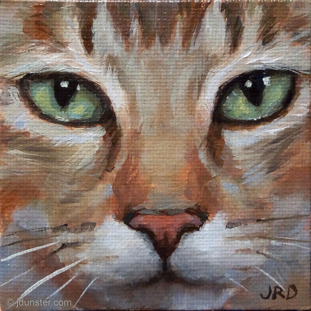 """""""Emerald Eyes [MINI PAINTING FREE SHIPPING]"""" original fine art by J. Dunster"""