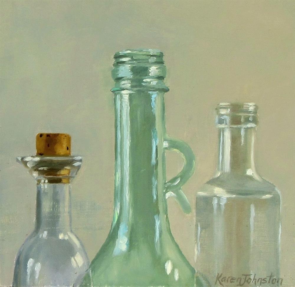 """""""Sauce Bottles"""" original fine art by Karen Johnston"""