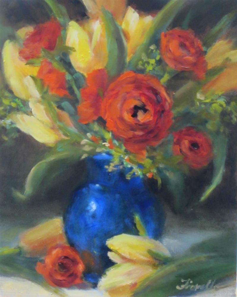 """Tulips and Ranunculus- Oil"" original fine art by Pat Fiorello"