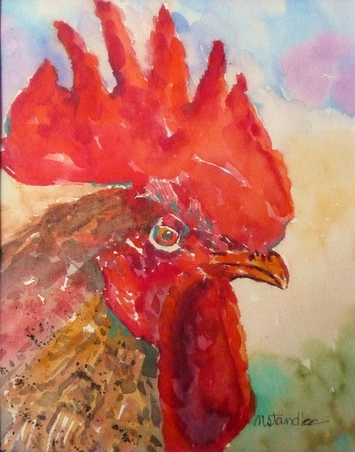 """Rooster #5  11084"" original fine art by Nancy Standlee"