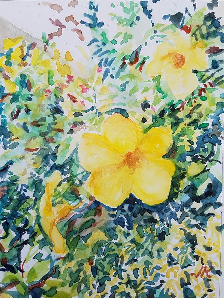 """""""Allamanda"""" original fine art by Jean Krueger"""
