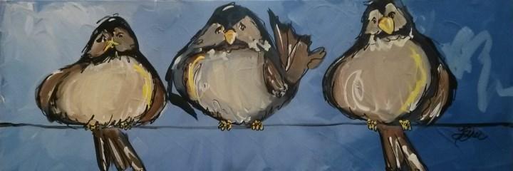 """""""Birdies on a Wire"""" original fine art by Terri Einer"""