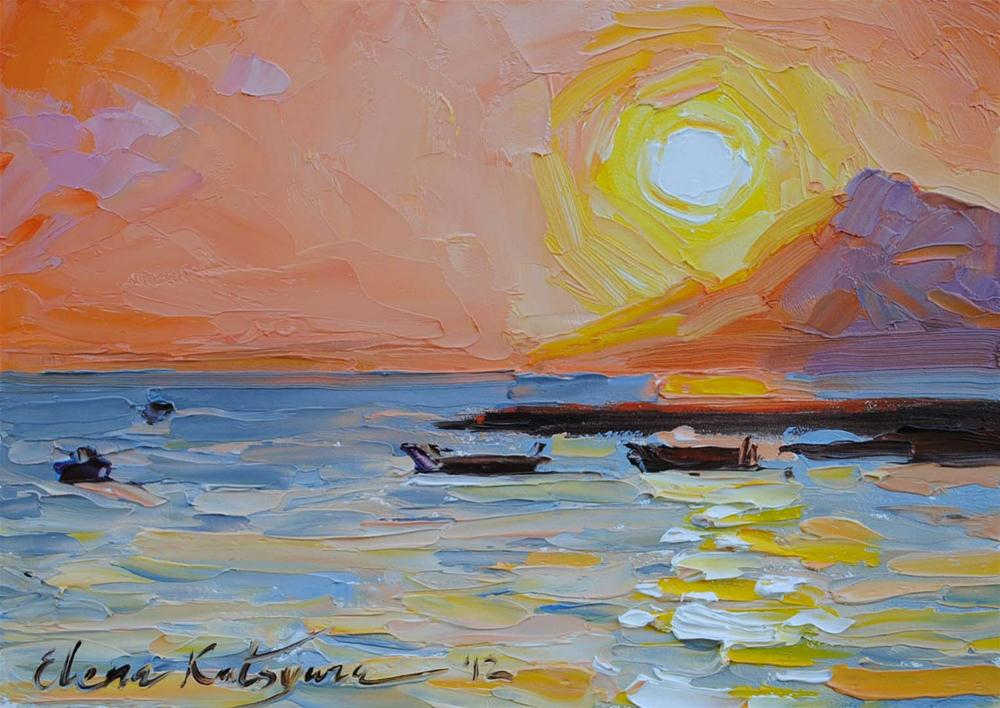 """Sunset Beach"" original fine art by Elena Katsyura"
