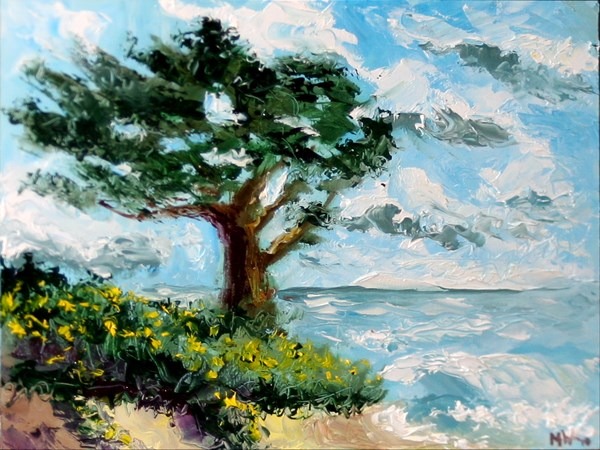 """""""Mark Adam Webster - Cypress Tree on the Pacific Coast Palette Knife Oil Painting"""" original fine art by Mark Webster"""
