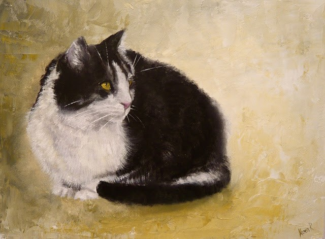 """Cat on Green"" original fine art by Karen Robinson"