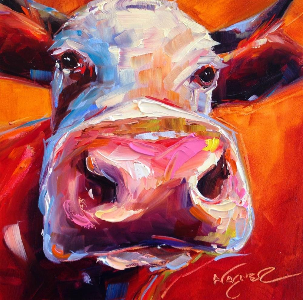 """""""Loving Color Day 7 - ORIGINAL CONTEMPORARY FUN COW PAINTING in OILS by OLGA WAGNER"""" original fine art by Olga Wagner"""