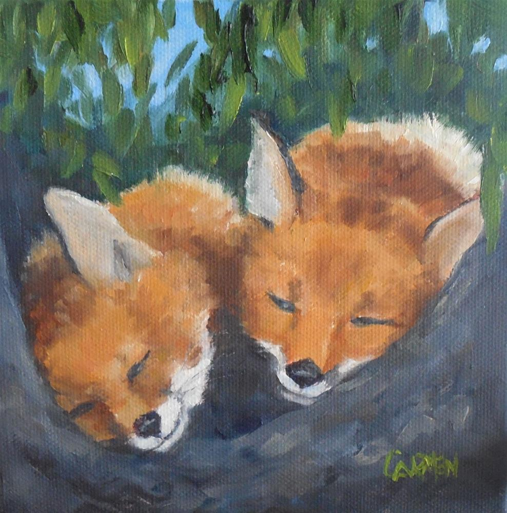 """""""Little Foxes, 6x6 Original Oil Painting on Stretched Canvas, Wildlife Painting"""" original fine art by Carmen Beecher"""