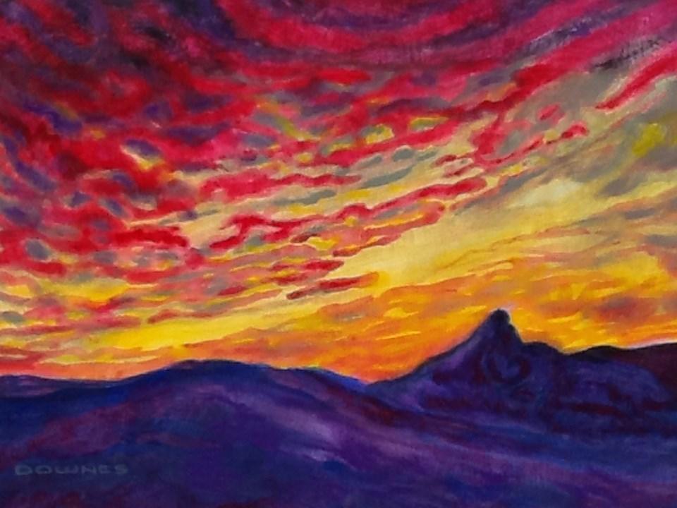 """050 MOUNT WARNING 10"" original fine art by Trevor Downes"