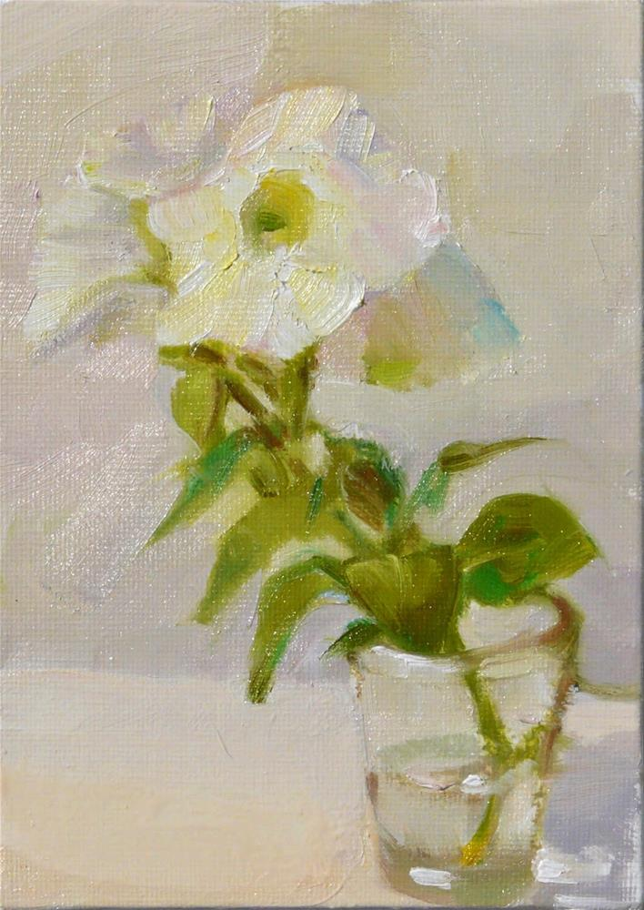 """Petunia cutting,still life,oil on canvas,7x5,price$100"" original fine art by Joy Olney"