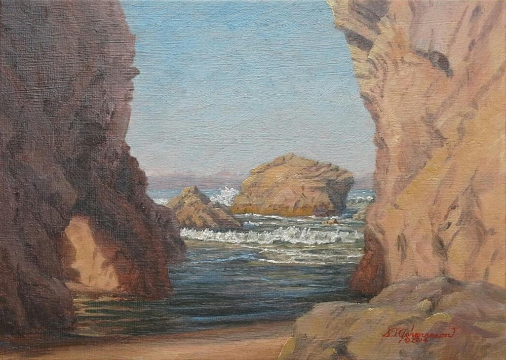 """""""C1566 The Lighted Arch  (at the Arched Rocks, Port Orford, Oregon Coast)"""" original fine art by Steven Thor Johanneson"""