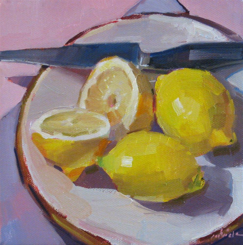 """Lemon Plated fruit food still life kitchen art painting original oil on canvas"" original fine art by Sarah Sedwick"