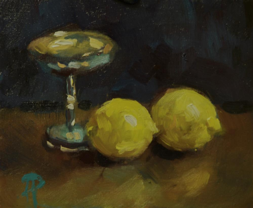 """""""Two Lemons and Silver Chalice"""" original fine art by Andre Pallat"""