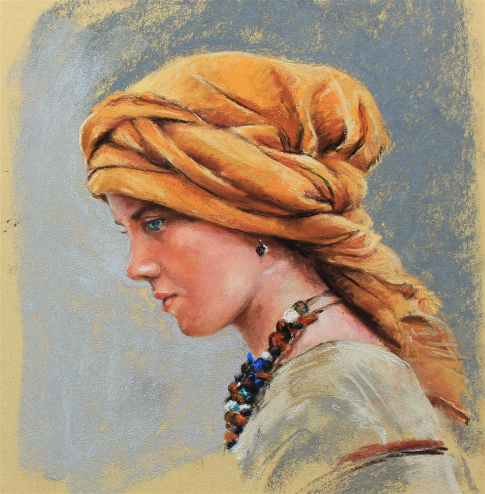 """""""Young woman in turban"""" original fine art by Marco Vazquez"""