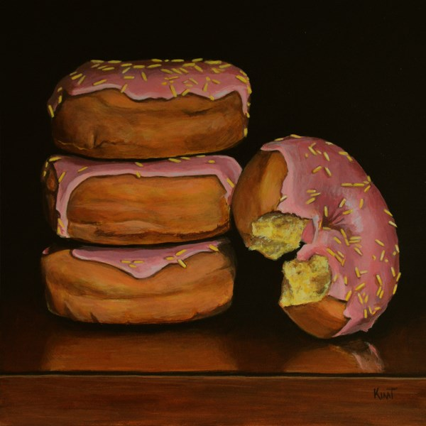 """Pink Frosted Donuts with Yellow Sprinkles"" original fine art by Kim Testone"