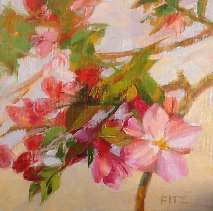"""Peach Blossoms"" original fine art by Jean Fitzgerald"