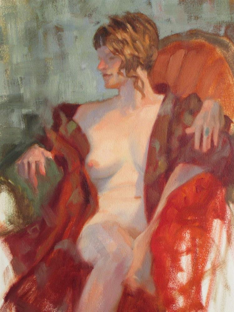 """""""Red Robe 16in x 12in  oil on paper"""" original fine art by Claudia Hammer"""