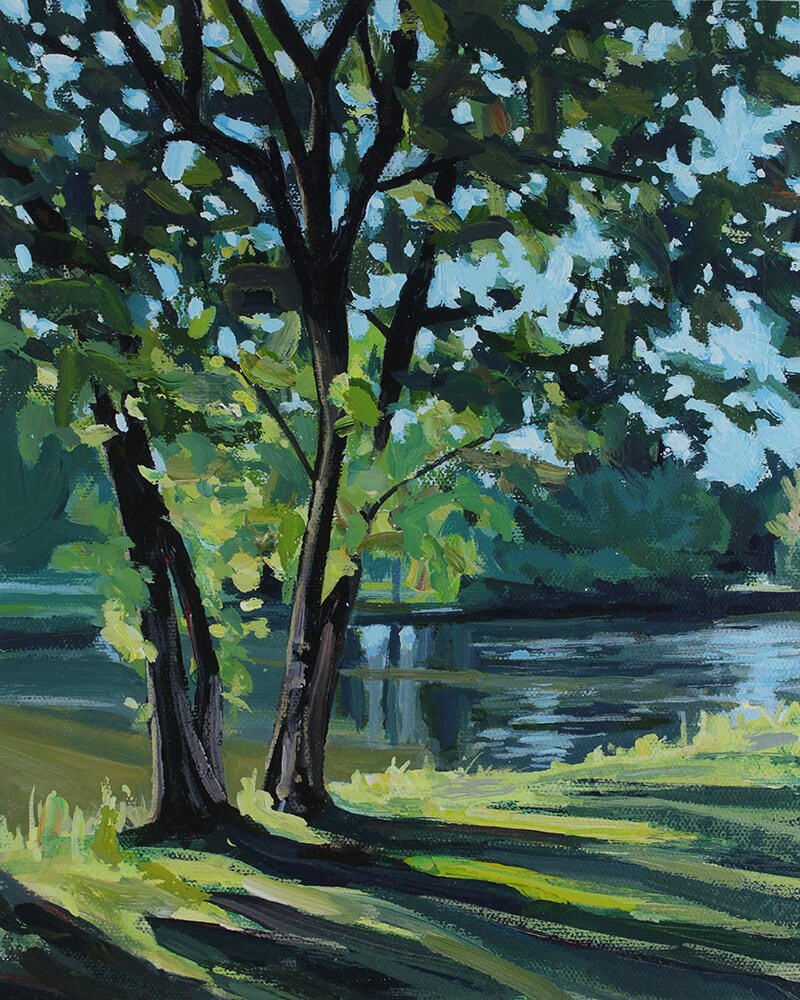 """Early Morning at Island Park"" original fine art by Chris Breier"