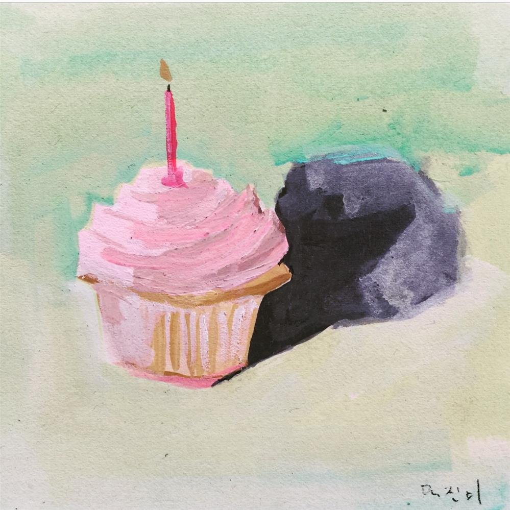 """657 Cute Cupcake"" original fine art by Jenny Doh"
