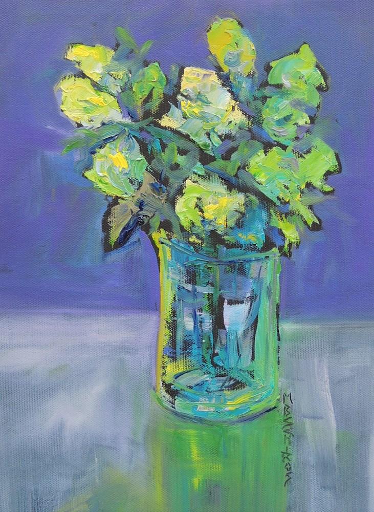 """Sunlit Blues"" original fine art by Mary Schiros"