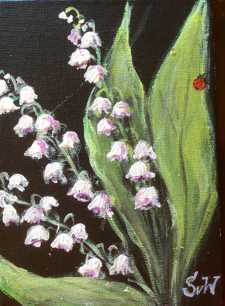 """""""Lily of the valley with ladybug painting"""" original fine art by Sonia von Walter"""