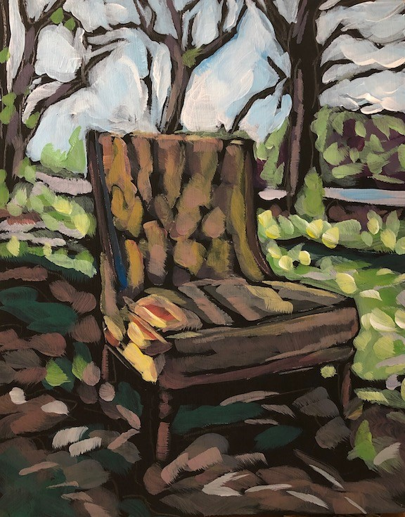 """That Chair By The River"" original fine art by Kat Corrigan"