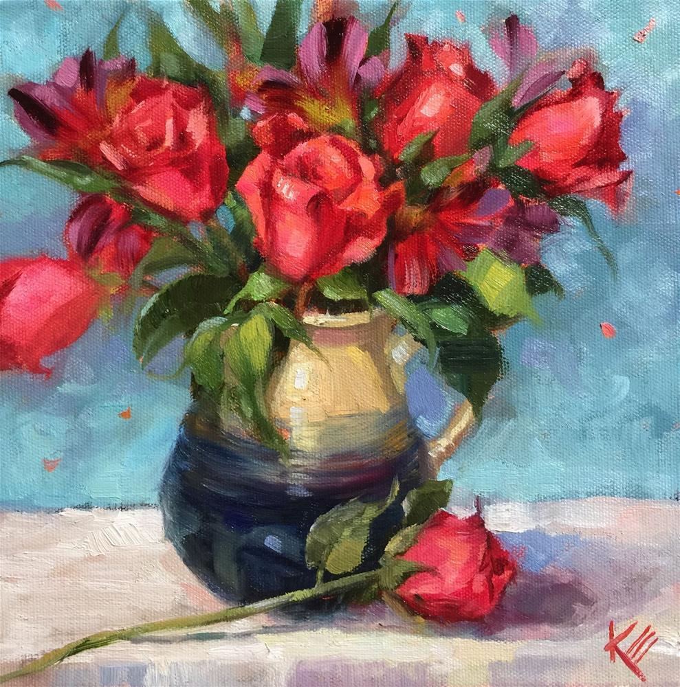 """Roses & Astromelia"" original fine art by Krista Eaton"